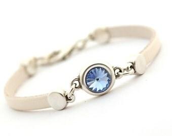 Metallic Cream Leather Bracelet, Pastel Blue Women Bracelet, Minimalist Cuff Bangle Bracelet, Swarovski Crystal, gift for her