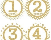 ON SALE Baby Monthly Milestone Growth Stickers Gold Glitter Dots Chevrons MS002 Nursery Theme Baby Shower Gift Baby Photo Prop