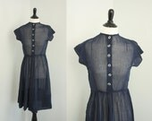 1940s dress | vintage 40s navy day dress