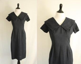 1950s dress | vintage 50s navy wiggle dress