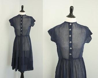 1940s dress | vintage 40s navy day dress
