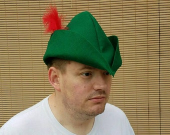 ADULT Peter Pan Hat Cap Kelly Green Felt Prince Charming Robin Hood Peter Pan Costume