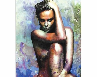 Pop Art 'Charlize Theron Blue Daze 2' by Artist Mark Lewis, Charlize Theron Nude Painting Limited Edition Giclee Print on Metal or Acrylic