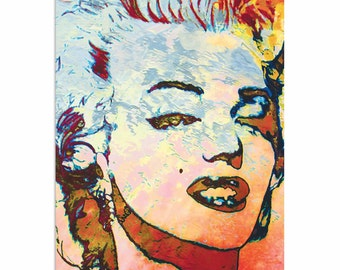 Pop Art 'Marilyn Monroe Red' by Artist Mark Lewis, Sexy Marilyn Monroe Painting Limited Edition Giclee Print on Metal or Acrylic