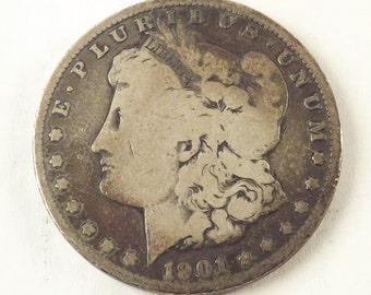 1901 O Morgan Silver Dollar Collectible Coin, 1901O One Dollar Coin New Orleans Mint, Vintage Coin