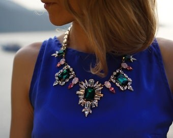 SALE Sugar Plum Fairy - Candy Colour Swarovski Crystals Statement Necklace - Ready to Ship