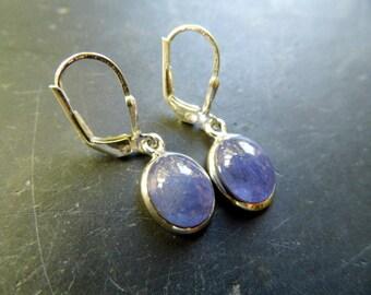 Earring, earrings, sterling silver, tanzanite, blue, silver, jewelry