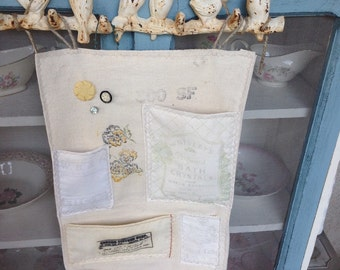 Sale-Vintage sack organizing wall caddy, office wall organizer, vintage sacks
