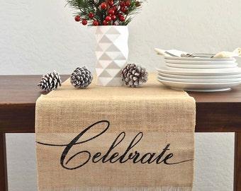 Celebrate Metallic Burlap Holiday / Christmas  Table Runner  -   Metallic Silver/ Black