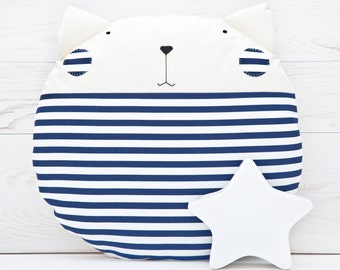 Striped Cat Cushion Blue Pillow Navy Cat Decorative Pillow Blue Nursery Decor Nautical Nursery Decor Nautical Cat Pillow Baby Shower Gift