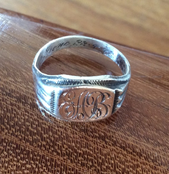 10k initials eab gold and sterling silver signet ring 1942