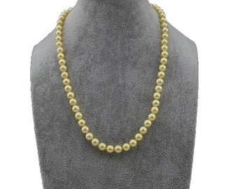 "14k Yellow Gold 7.0-7.5mm Rare Golden Saltwater Akoya Cultured Pearl High Luster Necklace 18"", AAA Quality."