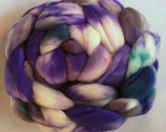 Purple speckles 5oz Handpainted SW Merino Spinning Fiber
