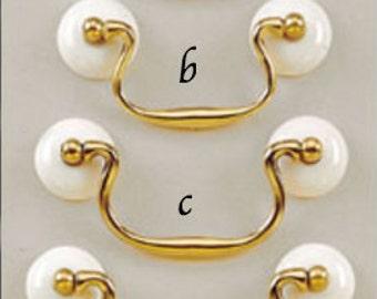 Brass and Ceramic Drawer Pull