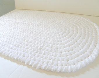 Thick n Plush, White Crochet Cotton or Burgundy Red Oval Bathroom Rag Rug design, Bath or Kitchen Mat, Entry Area Floor Rug, Spa Collection