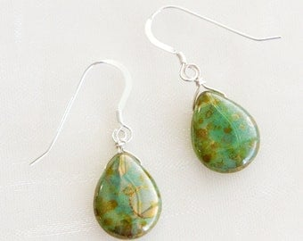 Earth Tone Glass & Sterling Silver Earrings