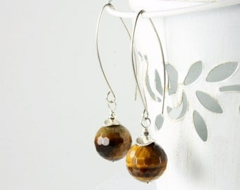 Tiger Eye Earrings, Sterling Silver, yellow, brown, fine gemstone earrings, semi precious, marquise ear wires, dangle, holiday gift for her