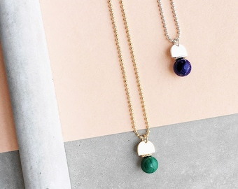 Gem Ball Arch Pendant / 14k gold filled ball chain / dark green malachite