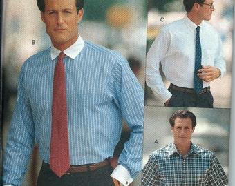 Vogue 7954 Men's Shirt Pattern, French Cuffs, Short Sleeve, Contrast, 15-15 1/2-16,  UNCUT