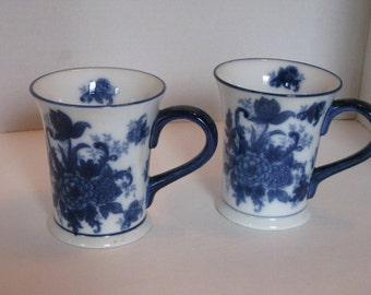 Set of Two Vintage Blue and White Coffee Mugs, Coffee Cups