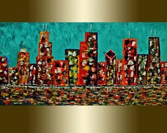 Oil painting Chicago city  palette knife