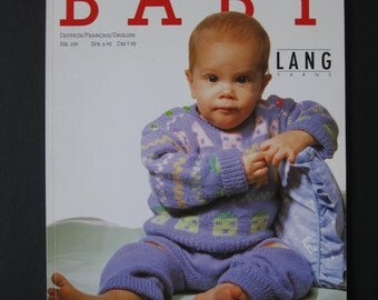 Lang Yarns, Sweet Little Baby, number 109, German, French and English, 86 pages of infant and toddler knitting patterns, lovely color photos