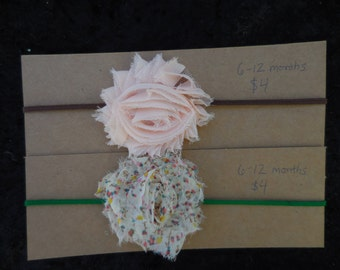 6-12 Month Shabby Chic Flower Skinny Headband