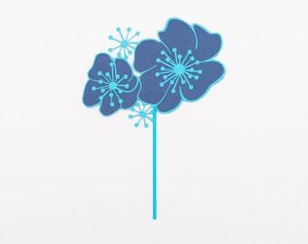 Blue Flower Wedding Cake Topper - Paper Flower Cake Topper - Paper Flower Cake Decoration