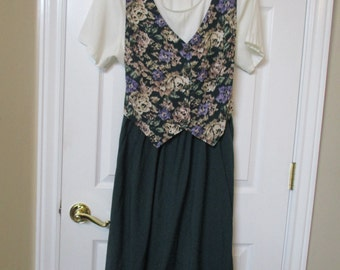 Womens dress size 16 floral dress vtg Caroline Wells 1990's 90's below the knee length dress