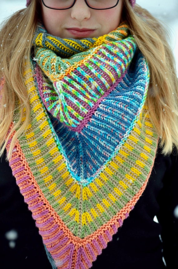 Items similar to Make Your own rainbow, brioche knitting ...