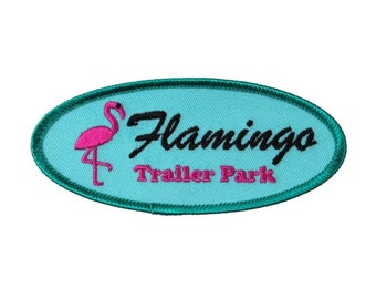 Mobile Home Flamingo Trailer Park Patch RV Travel Gag Iron On Craft Applique