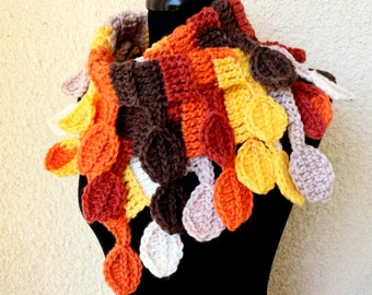 Crochet Scarf PATTERN, Autumn Leaves Scarf, DIY Crafts, Fall Gifts Chunky Scarf, Fall Scarf, Instant Download PDF Pattern #9 Lyubava Crochet