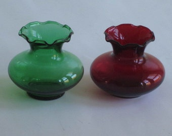 Small Vintage Green and Red Fire King Vases