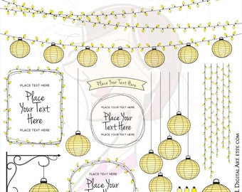 String Lights Vector Outdoor Paper Lantern Clipart DIY Wedding Invitations Announcements Yellow Lanterns Commercial Use Garden Lights 10712