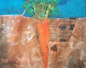 16X20 Mixed Media Carrot Painting