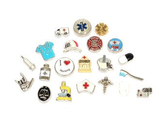 Professions Floating Locket Charms - Nurse Locket Badge Clip Charms - Memory Locket Badge Charm - Pharmacist Jewelry - Paramedic BadgeBlooms