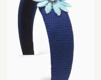 SALE, Blue Silk Headband - Flower Hair Accessory - Silk Tie Hair Accent - Boho Style Hair Band