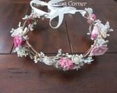 sola flower hair, bridal flower crown, light pink wedding headpiece, hair accessories, dried hair crown