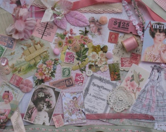 Pink Blossoms Jumbo Vintage Inspiration Kit - 157 Pieces - Spring Flowers - Pink Green White - Antique Papers, Lace, Ribbons, Supplies