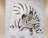 Tiger original textured painting white modern art 36X36 FREE SHIP