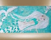 original mermaid painting modern textured impasto art 48x24 FREE SHIP