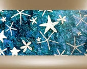 Beach starfish painting abstract textured art turquoise purple white gold 48X24 FREE SHIPPING