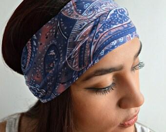 Blue Yoga Headband, Running Headband, Fitness Headband, Wide headband