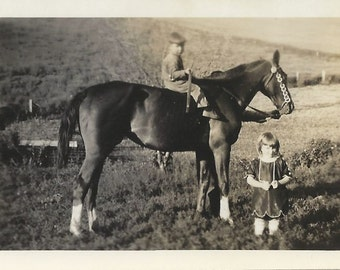 Sure Fun Boy - Vintage 1920s Boy on Horse Photograph