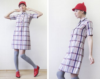 Danish vintage white blue red plaid striped cotton simple summer short sleeve shirt midi dress S