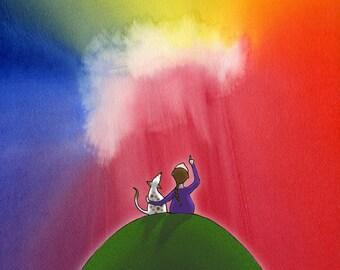 Rainbow ART PRINT – Gift for Girls, Girl Art, Girls Room, Bright Colours, Girl Art, Rainbow, Dog Lover Art,