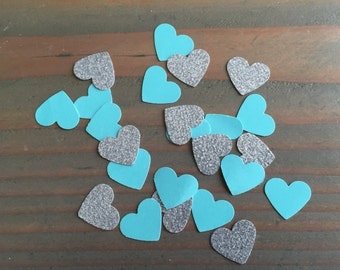 150 silver glitter and teal hearts confetti, table decor, baby shower, wedding reception, bridal party