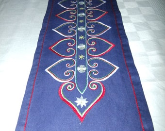 Vintage Swedish1960s  hand embroidered ablong Christmas tablecloth