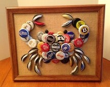 Maryland Blue Crab bottlecap art