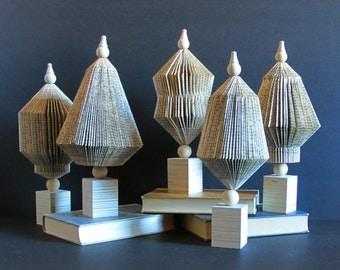 1 Paper Topiary Centerpiece - Book Paper Sculpture - Paper Cog Sculpture - Neutral Home Decor - Libray Book Lover Gift - Eco Friendly Decor